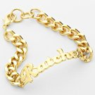 Gold RATCHET Chain Link Word Bracelet Urban Statement Sexy Love Hip Hop Jewelry