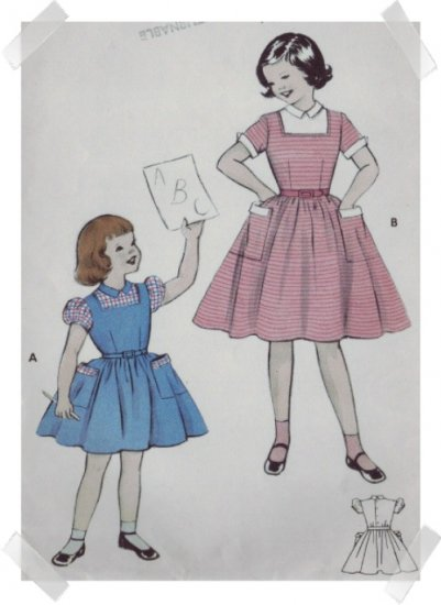 """Butterick #7095 Childs Sz 8 Dress Pattern c.1950s"