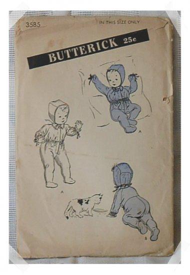 Butterick INFANT CARRIAGE SUIT & CAP Pattern c. 1940