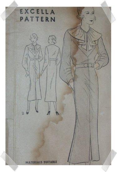 Excella #4686 Sz 16 Dress Pattern c.1930