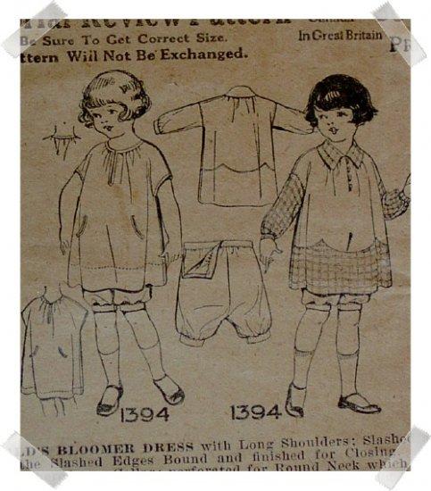 Pictorial Review #1394 Sz 4 Girls Bloomer Dress Pattern