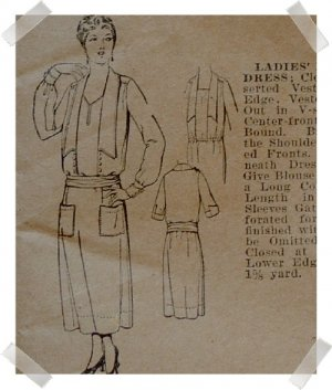 Pictorial Review #1542 Bust 38 Long Waisted Dress Pattern c. 1910