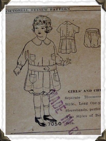 Pictorial Review #7050 Sz 4 Girls Kimono Dress Pattern c. 1910