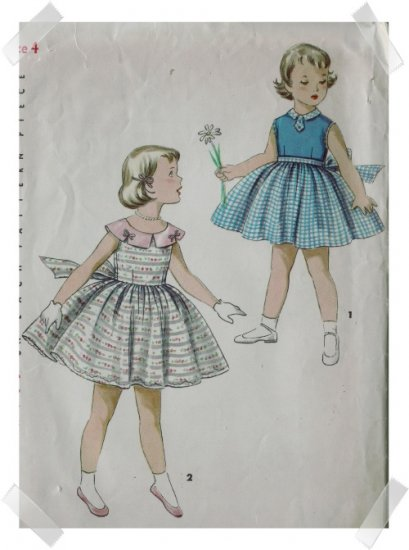 Simplicity #1108 Girls Sz 4 Sundress Pattern c. 1950