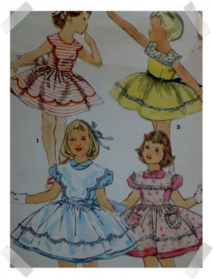 Simplicity #1440 Vintage Girls Sz 6 Dress & Pinafore Pattern