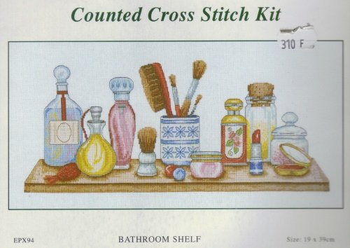 Fleur De Lis Cross Stitch Kit ~ Bathroom Shelf