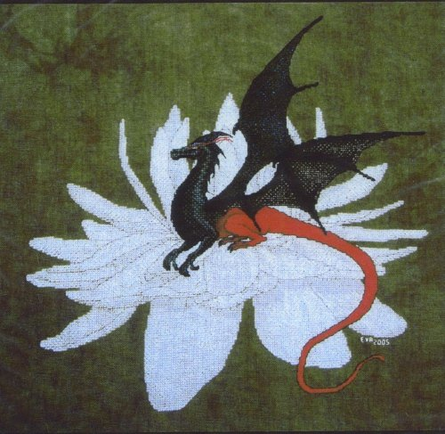 Fire Wing Desgins ~ Dragonfly #2 Cross Stitch on Amazon Velvet