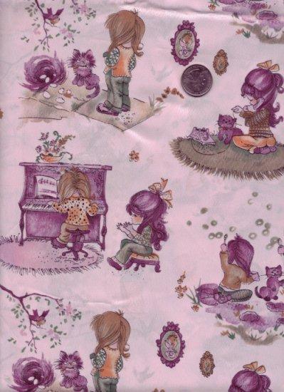 Vintage 1960/70s Satin Rayon Fabric ~ Kitties & Little Girls