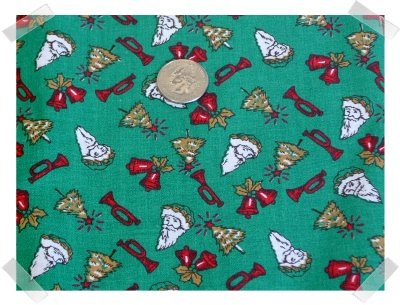 Xmas Cotton Fabric ~ Santas French Horns Bell