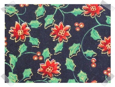 Xmas Cotton Fabric ~ Black & Poinsettias 2YDS