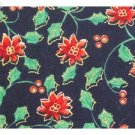 Xmas Cotton Fabric ~ Black & Poinsettias 2YDS
