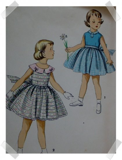Simplicity #1108 Girls Sz 5 Dress c.1950