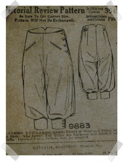 "Pictorial Review #9883 28"" Waist Knickerbockers c.1910"