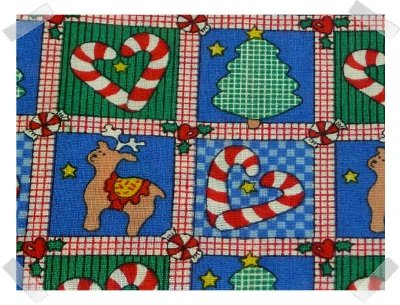 Xmas Cotton Fabric ~ Blue & Green Rudolf & Candy Canes