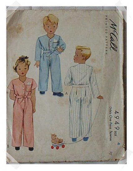 McCall Childs One Piece Pajamas c.1942