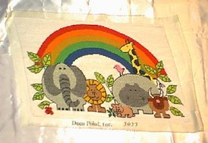 Prestitched Neeldepoint Panel ~ Animals & Rainbow