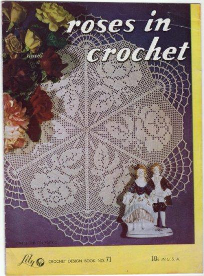 Vintage 1940s Lily Crochet Designs#71 ~ ROSES IN CROCHET