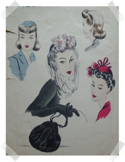 Vogue Vintage 1940s HAT & BAG  Pattern