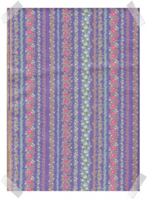 Blue Floral Stripes Crafting / Quilting Cotton Fabric - 2 yds