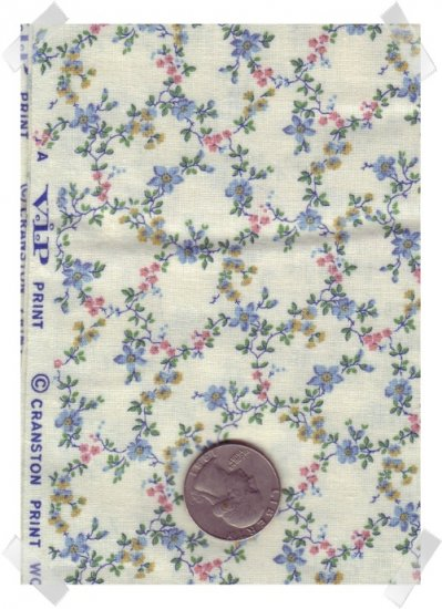 Quilting Cotton Cranston VIP PINK & BLUE Vining Flowers 2 yds