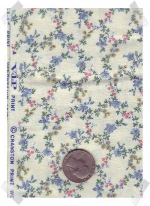 Quilting Cotton Cranston VIP PINK & BLUE Vining Flowers 2 yds