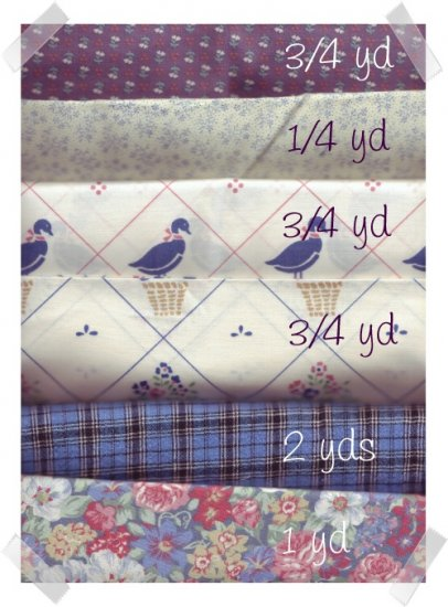 Cotton Quilting/Craft Fabrics ~  ASSORTED BLUES 5 1/2 yds