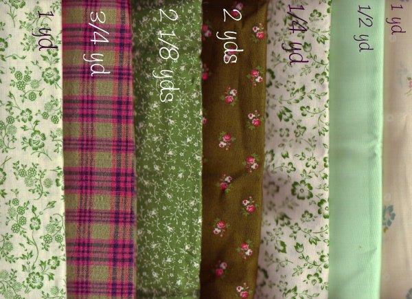Cotton Quilting/Craft Fabrics ~  ASS'T GREENS 5 1/2 yds