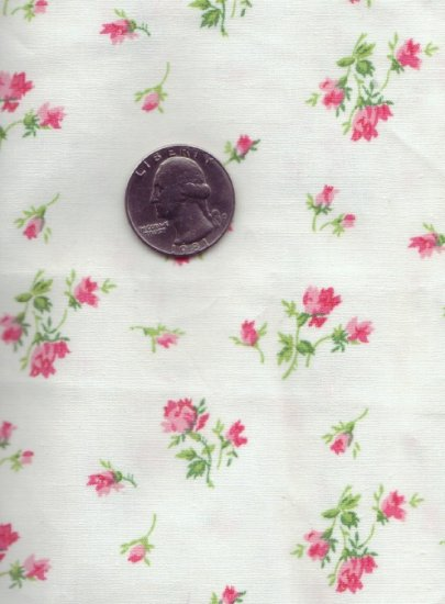 Vintage 1930s 100% Cotton Fabric ~ Petite Pink Rose 1 yd