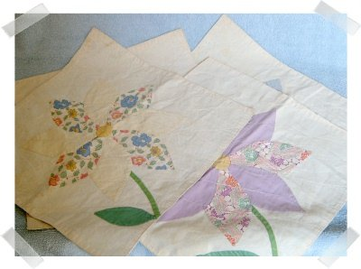 FOUR  13 x 13 Finished Quilt Block Squares with Flowers  for Totes or  Pillows