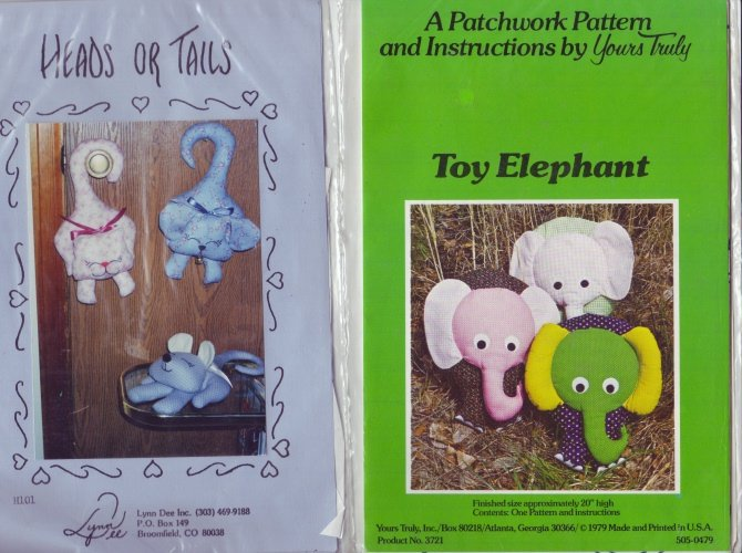 Yours Truly Patterns ~ Elephant & Kittie Stuffed Animal and Hanging Patterns