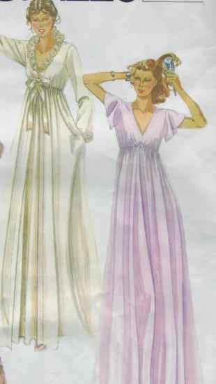 McCalls Pattern #7280 ~  Nightgown & Robe Size Small