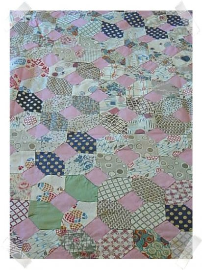 BEAUTIFUL c.1930s Hand Stitched BOW TIE Quilt