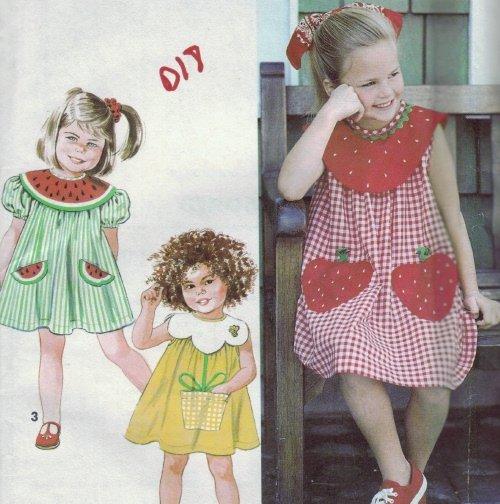 Simplicity #7784 Child's Strawberry Dress Sz 2 - 4