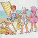 Simplicity #7310 Childs Sun Dress & Rompers Sunsuit & Hat Sz NB - 18 mo