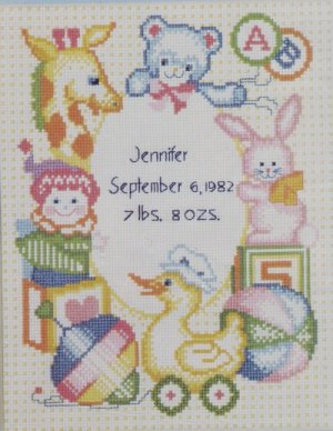 Dimensions Counted Cross Stitch Kit ~ Nursery Toys Birth Record