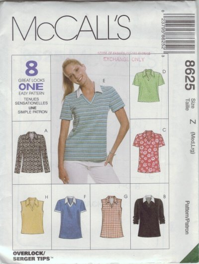 McCalls #8625 Woman's Casual T-Shirt Pattern Sz Med