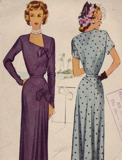Vintage 1940's McCall #7542 Dress Pattern ~  Sz 14