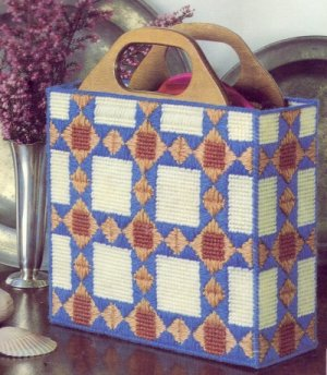 Quilt Pattern Purse Plastic Canvas Needlepoint Kit