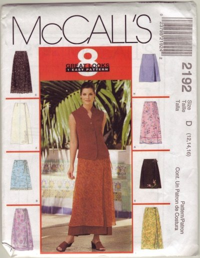 McCalls 2192 Womans Skirt Sz 16-18-20