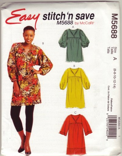 McCalls M5688 Womans Pullover Tunic Sz 14-16-18-20