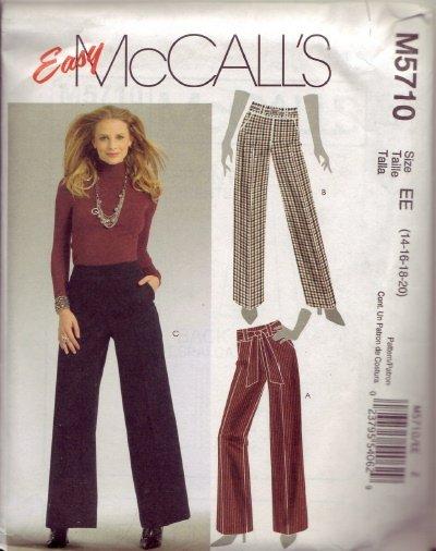 McCalls M5710 Womans Pants Pattern Sz 14-16-18-20