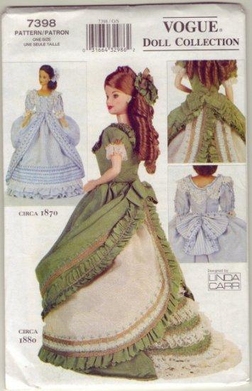 Vogue 7398 Historic Barbie Doll Dresses C 1870 And C 1880