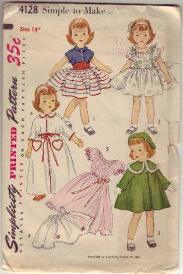 "Vintage Simplicity #4128 14"" Doll Wardrobe  for Toni Dolls & Other 14"" Dolls"