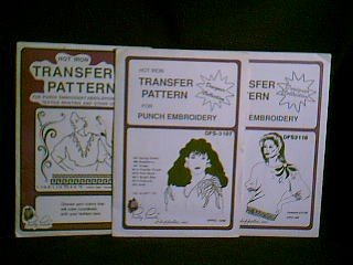 Vintage Hot Iron Transfer Patterns For Punch Embroidery ~ Poinsettia Spray & Borders
