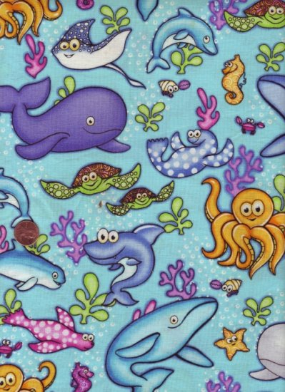 "100 % Cotton Fabric ~ Under the Sea Novelty Print 1 1/2 yd x 45"" Wide"