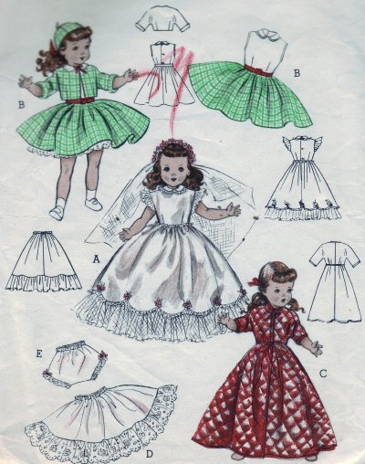 """Vintage Butterick #6759 14"""" Toni and Miss Curity Doll Wardrobe Pattern"""