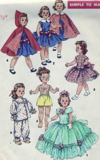 "Vintage 1950's Simplicity #1405 19.5"" Toni Walker Doll Wardrobe Pattern"