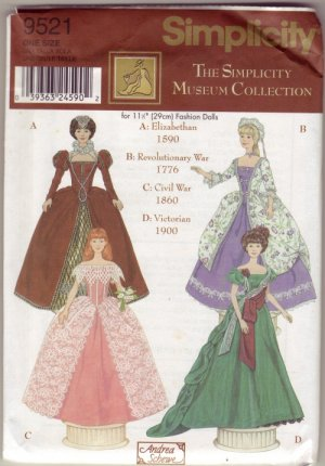Simplicity #9521 Museum Collection Pattern for Barbie