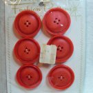 Buttons ~ Vintage 1950's Fashion Buttons Red Satin 1 1/4""
