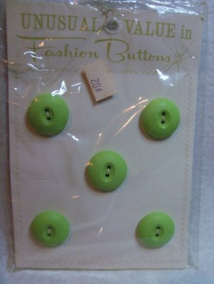 Buttons ~ Vintage 1950's Fashion Buttons Lime Green